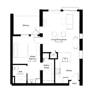 One bedroom - 900 square feet